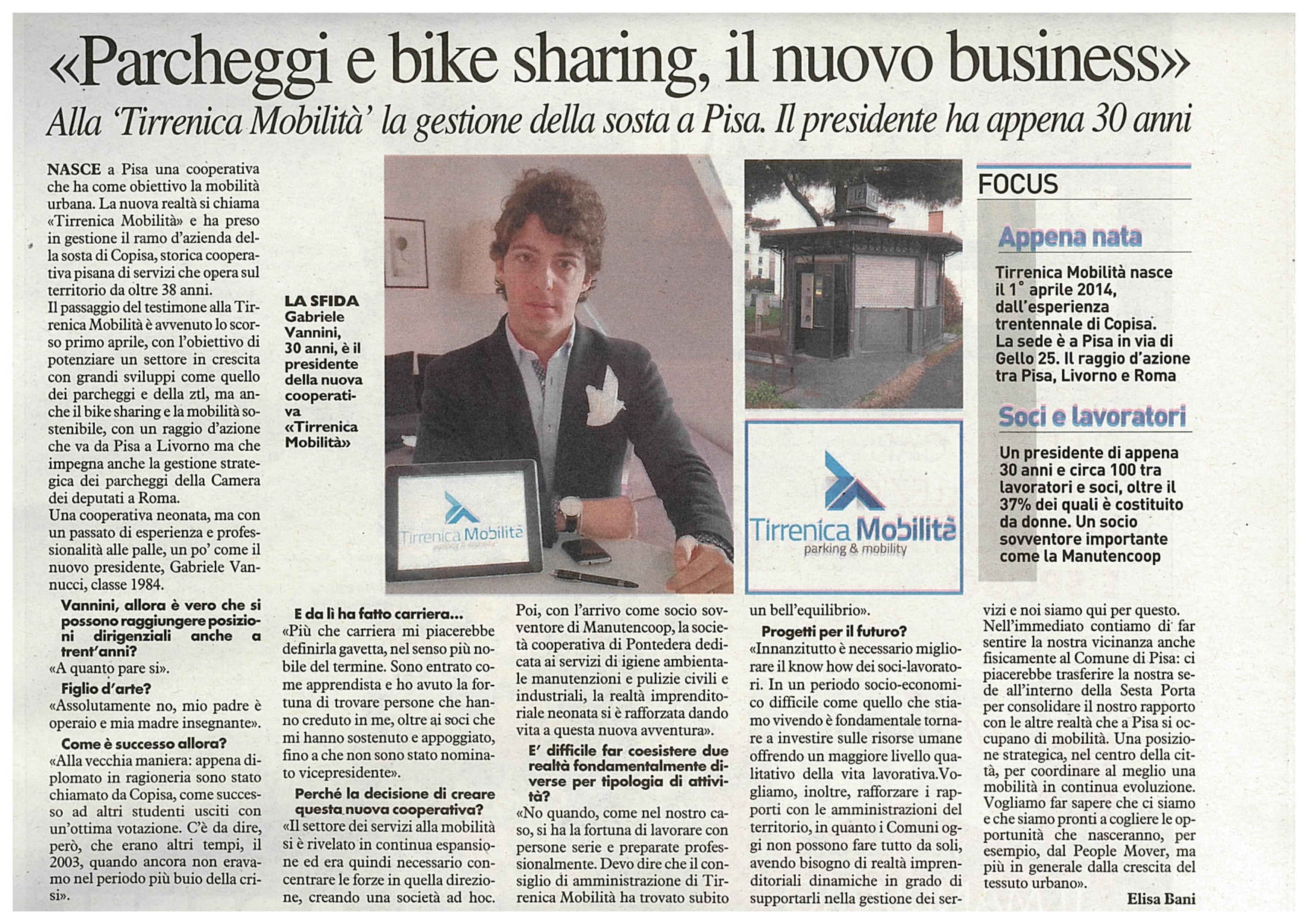 Articolo La Nazione Maggio 2014 Tirrenica Mobilit